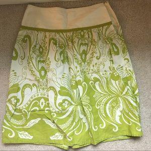 J.Crew patterned summer skirt. Lime/white. Size 0